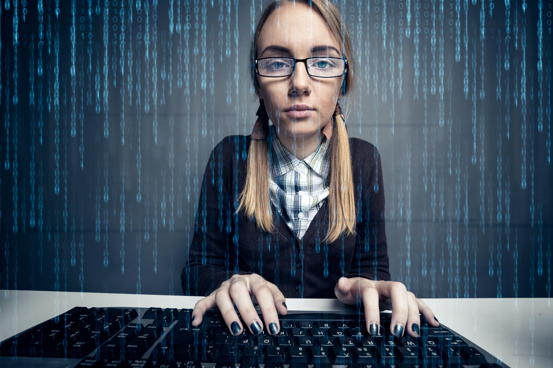 School girl on computer