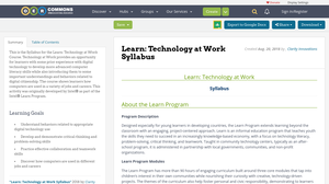 Technology at Work Syllabus