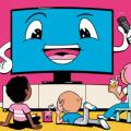 Kids watching cartoon screen