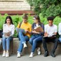 Students utilizing devices outside of campus